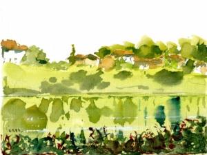 Aquarelle carte postale paysage