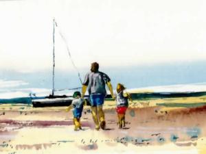 » Vers la plage un père et ses deux enfants «nu°54